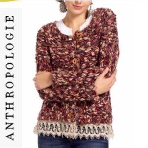 Anthropologie HWR Chunky Knit Lace Trim Cardigan